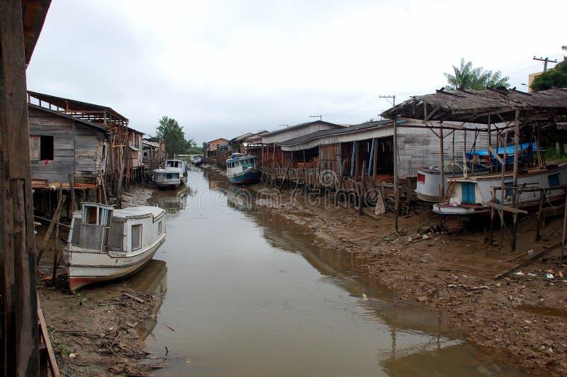 亚马逊渔夫雨林村庄 库存照片
