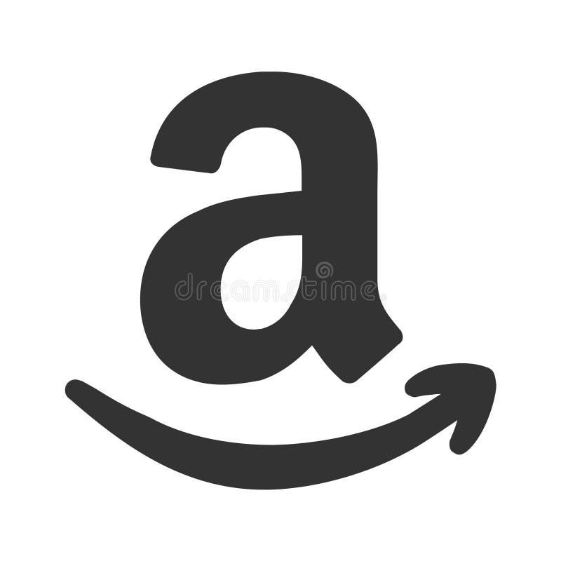 亚马逊购物的商标象箭头标志,传染媒介例证 皇族释放例证