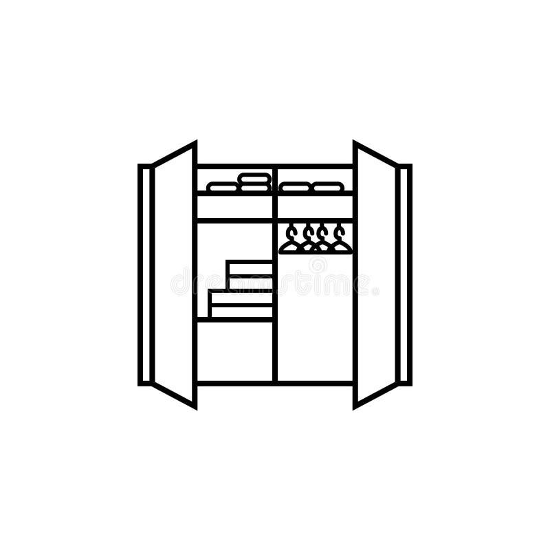 亚麻制壁橱象 家具的元素流动概念和网apps的 网站设计和发展的, app d稀薄的线象 向量例证