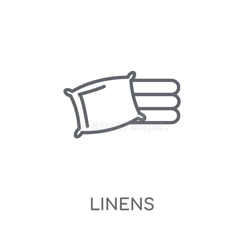 亚麻布线性象 在白色的现代概述亚麻布商标概念 库存例证