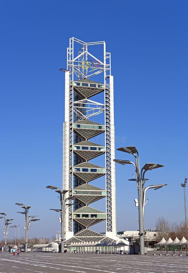 亚洲中国,北京,奥林匹克公园,景观, linglong塔出现 库存图片