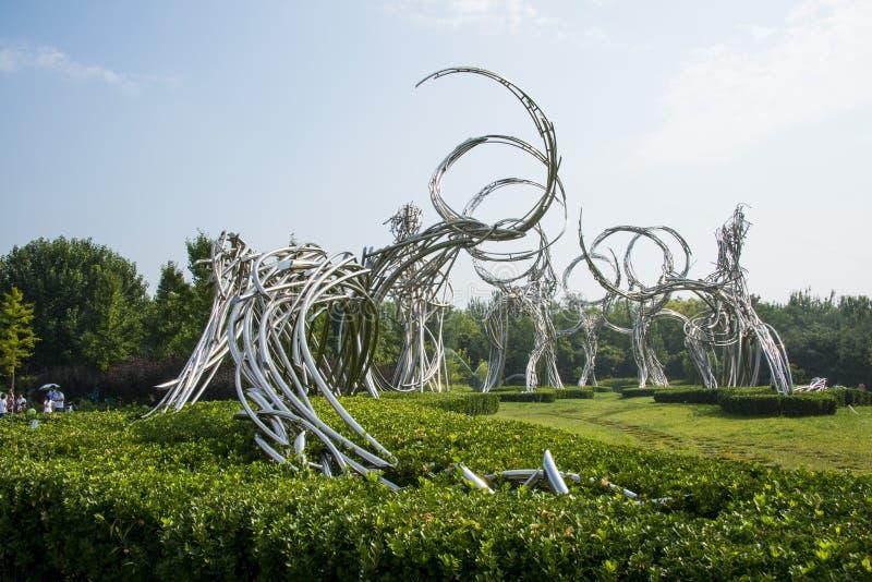 亚洲中国,北京,奥林匹克森林公园,风景雕塑,运动员路  库存照片