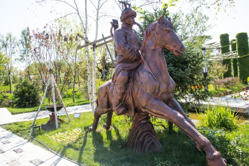 亚洲中国,武清,天津,绿色Expoï ¼ ŒLandscape雕塑,马骑术,牧人 免版税库存照片