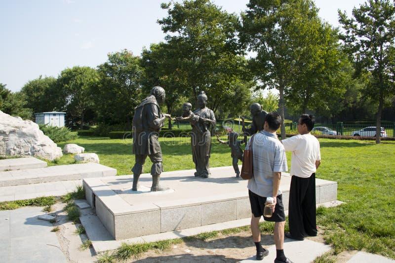 亚洲人中国,北京,芦沟桥广场,雕塑 免版税库存图片