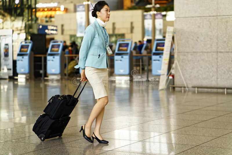 亚洲人大韩航空茵契隆国际性组织airpo的空服员 免版税库存照片