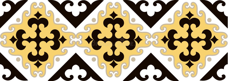 亚洲人装饰汇集 历史上游牧人民装饰物  它根据毛毡和羊毛真正哈萨克人地毯  向量例证