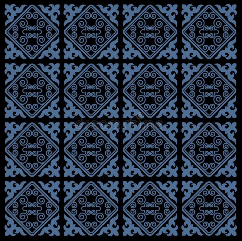 亚洲人装饰汇集 历史上游牧人民装饰物  它根据毛毡和羊毛真正哈萨克人地毯  库存例证