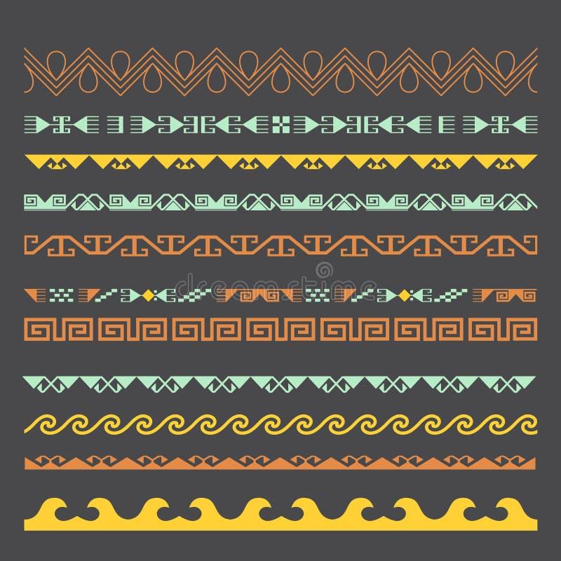 亚洲人装饰汇集 历史上游牧人民装饰物  向量例证
