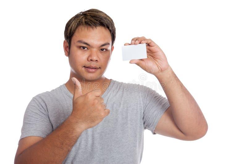 亚洲人赞许显示一个空插件 库存图片
