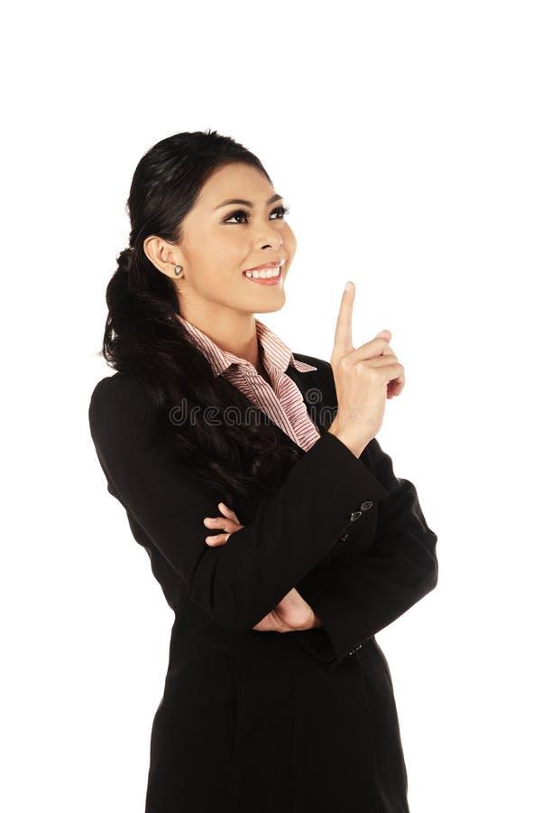 亚洲企业认为的妇女年轻人 免版税库存照片