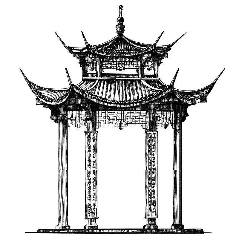 亚洲传染媒介商标设计模板 寺庙或 皇族释放例证