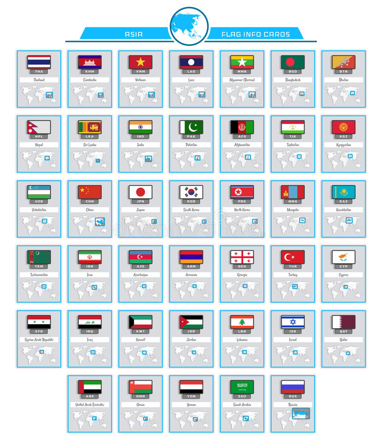 亚洲信息卡片 向量例证