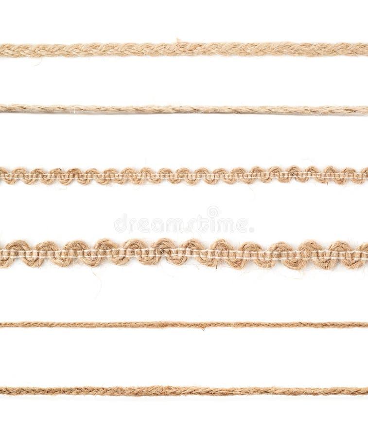 亚麻制绳索串的线 免版税图库摄影