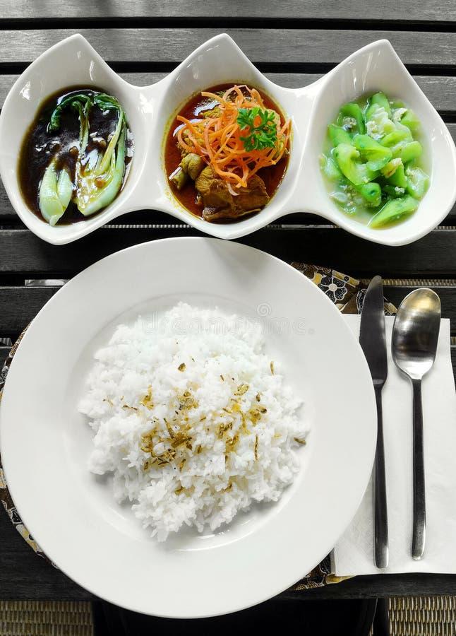 亚洲咖喱&蔬菜设置了膳食 库存照片