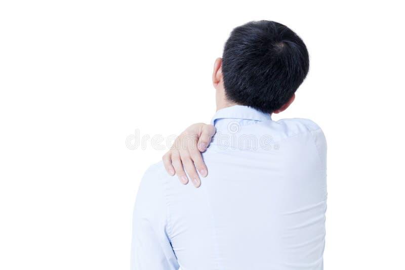 年轻亚洲商人有肩膀痛苦在被隔绝的白色 库存照片