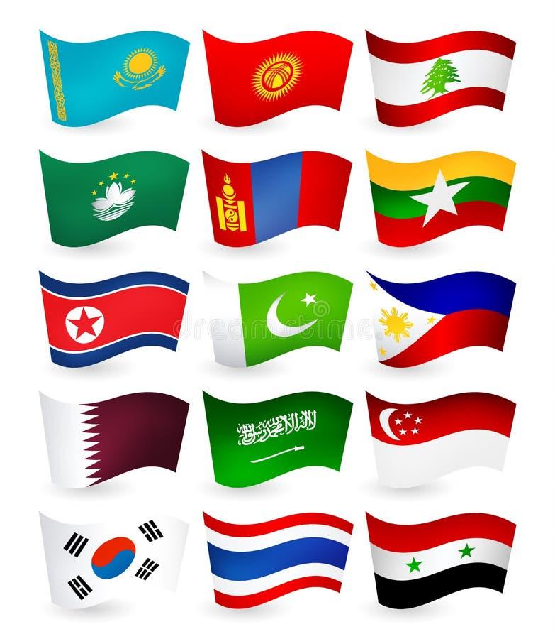 亚洲国家飞行旗子设置了第2部分 向量例证