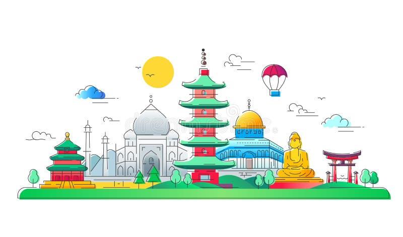 亚洲国家-传染媒介线旅行例证 向量例证