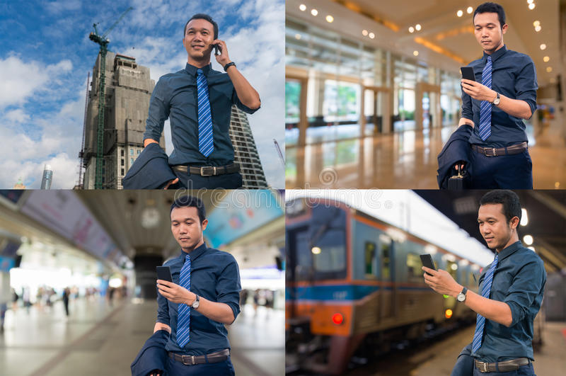 亚洲在建造场所的商人用途流动智能手机,  库存照片