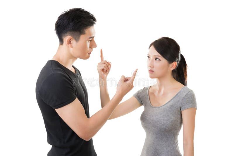 亚洲夫妇争论 库存照片