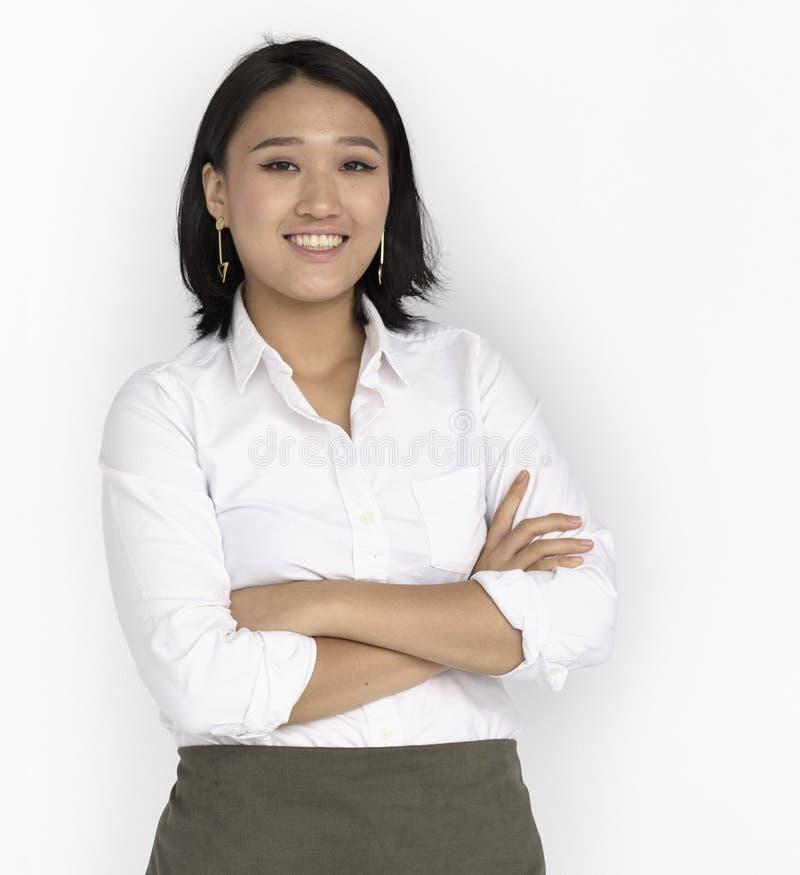 年轻亚洲女商人确信微笑 库存图片