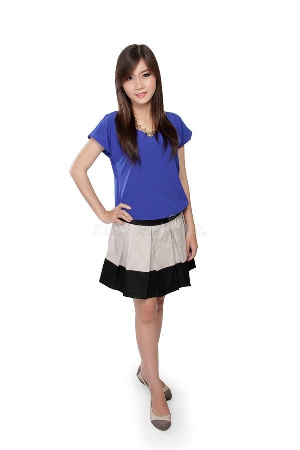 亚洲女孩身分姿势 库存图片