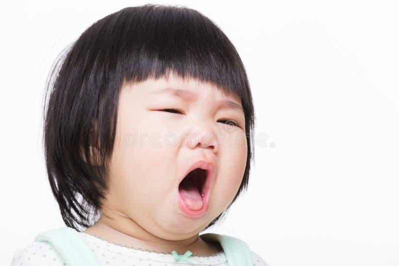 亚洲女婴咳嗽 图库摄影