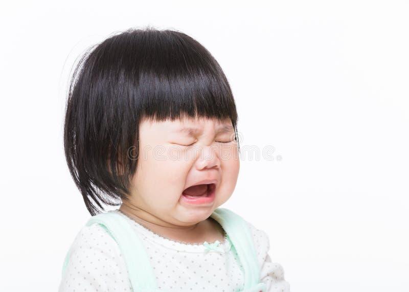 亚洲小女孩哭泣 免版税库存图片