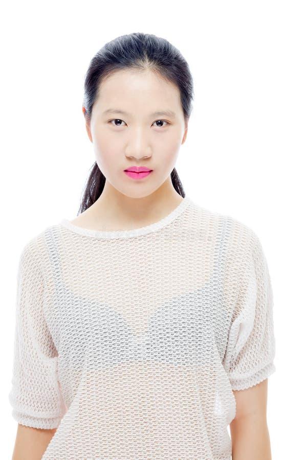 亚洲少年女孩秀丽画象 免版税库存照片
