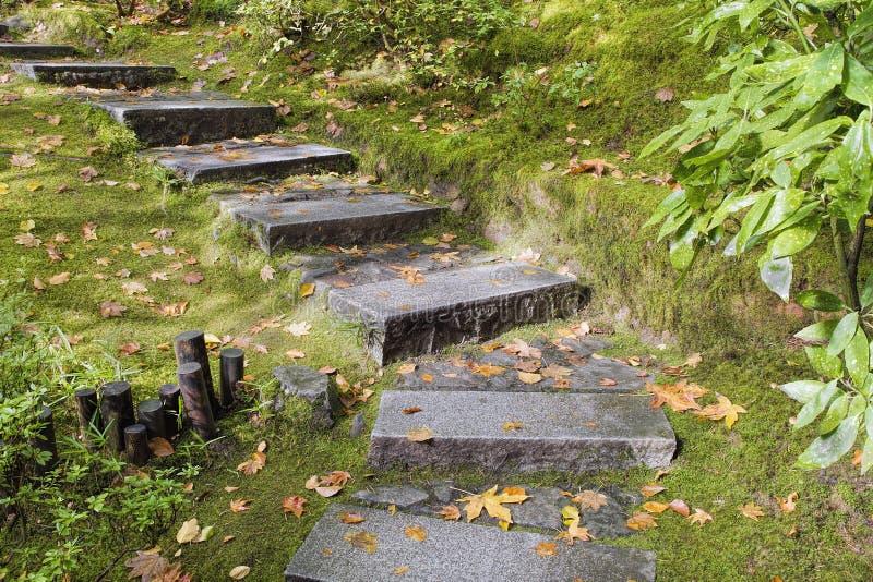 亚洲庭院花岗岩石头步 库存图片