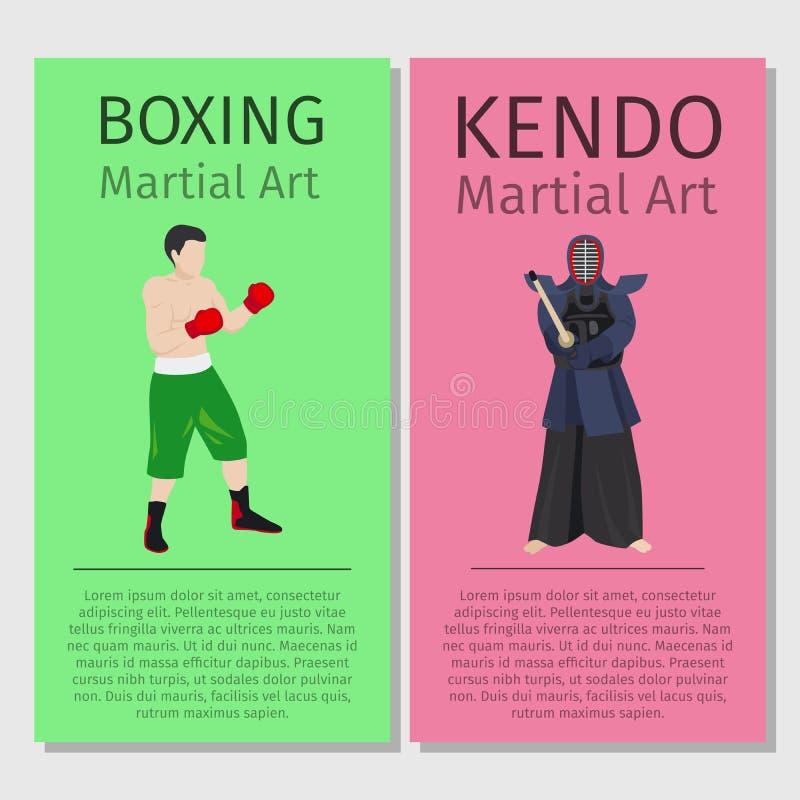 亚洲武术 拳击和Kendo 皇族释放例证