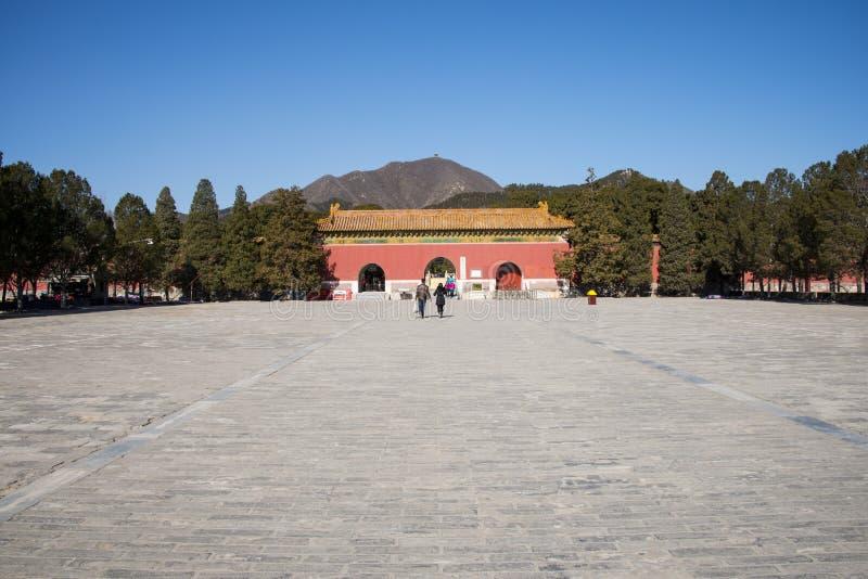 亚洲汉语,北京,明十三陵风景区, Dinglingï ¼ ŒMausoleum门 免版税库存照片