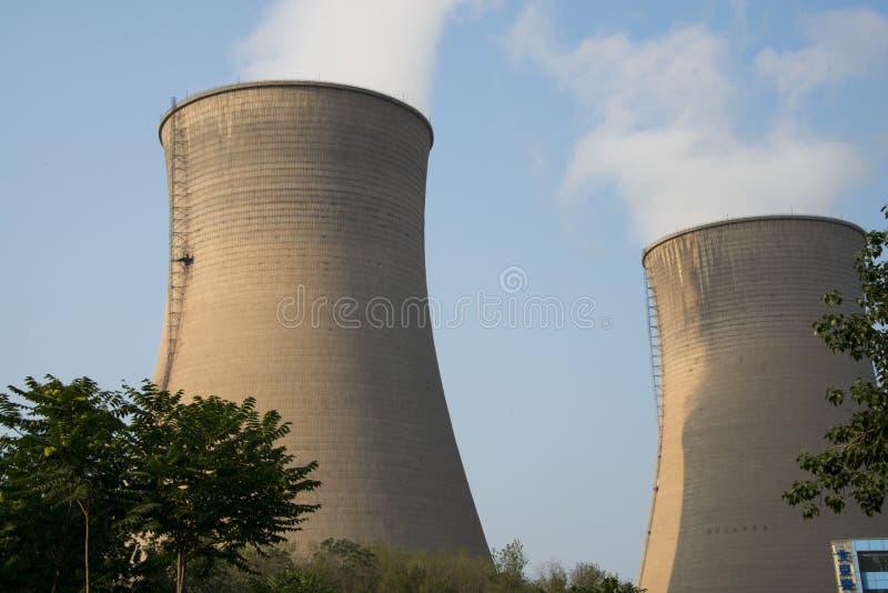亚洲汉语,北京,热电厂,冷却塔, 库存图片