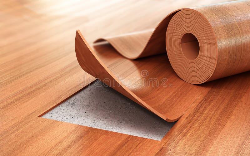 亚麻油地毡涂层 地板设施 库存例证