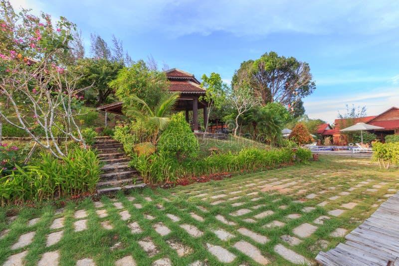 亚洲热带庭院 库存照片