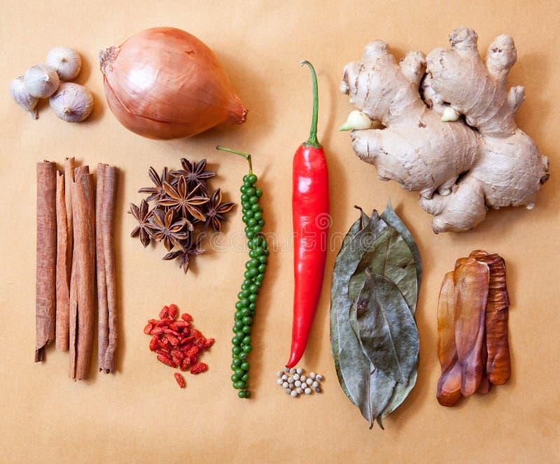 亚洲热带香料草本菜大蒜,肉桂条葱c 免版税库存照片