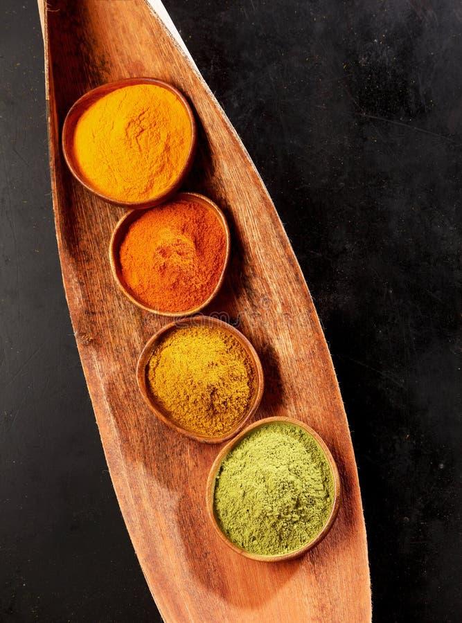 亚洲烹调的四个碎香料 免版税库存图片