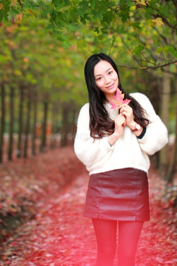 亚洲瓷美丽的妇女在秋天公园 免版税库存照片