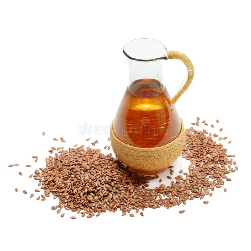 亚麻籽和油 免版税库存照片