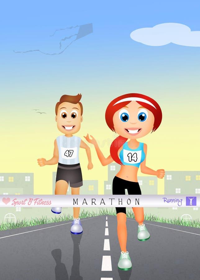亚洲美丽的白种人夫妇横向户外人马拉松路运行运行培训的赛跑者赛跑者二名妇女 库存例证