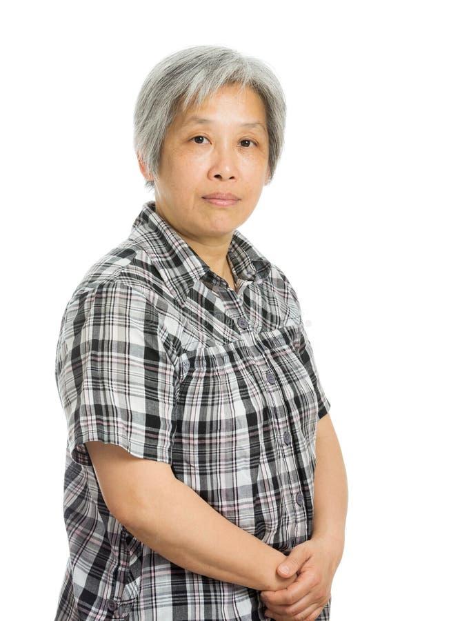 亚洲老妇人画象 免版税库存照片