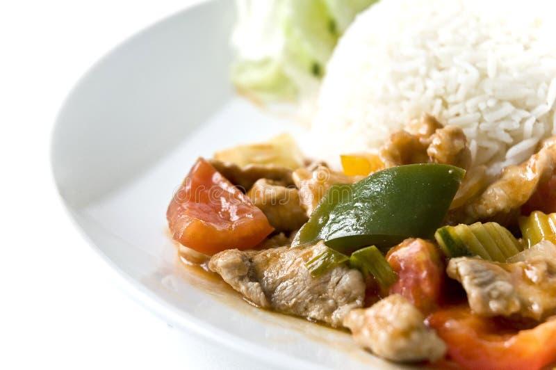 亚洲肉米餐具 库存照片