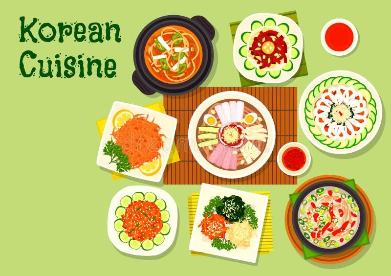 亚洲菜单设计的韩国烹调盘象 库存例证