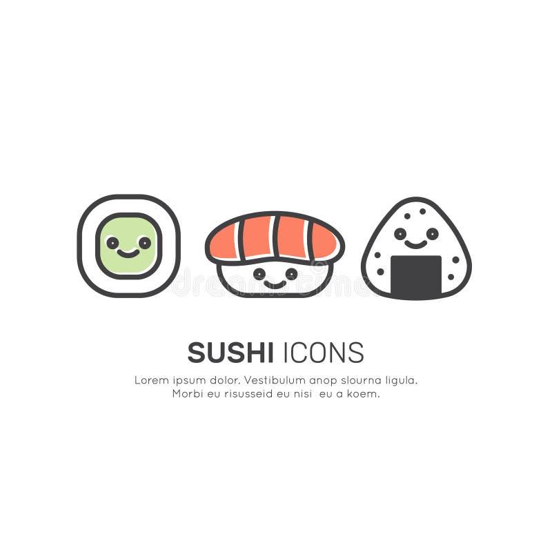 亚洲街道快餐酒吧或商店,寿司,梅基, Onigiri与筷子的三文鱼卷商标  向量例证
