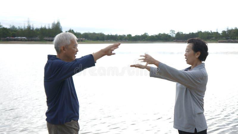 亚洲资深年长夫妇实践Taichi,启功锻炼ne 免版税图库摄影