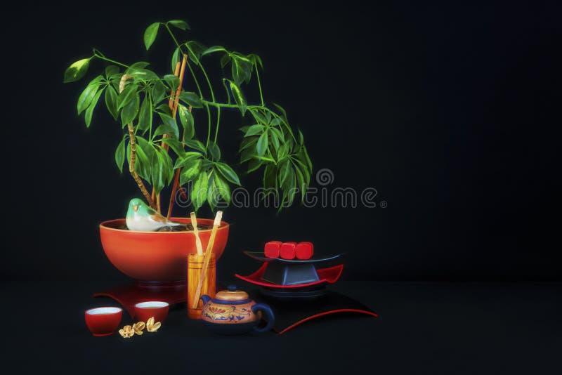 亚洲题材茶时间静物画 免版税库存图片