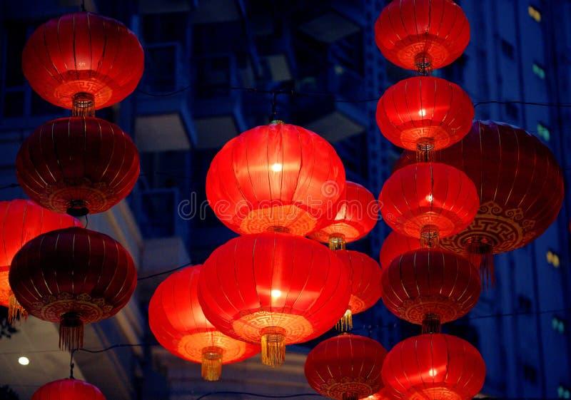 亚洲香港五颜六色的红色灯笼 免版税库存图片