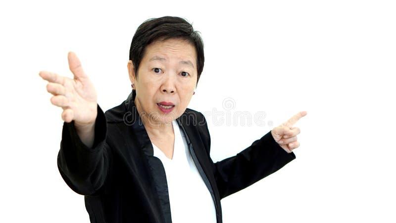 亚洲高级管理人员女商人呼喊和恼怒的摘要 免版税图库摄影