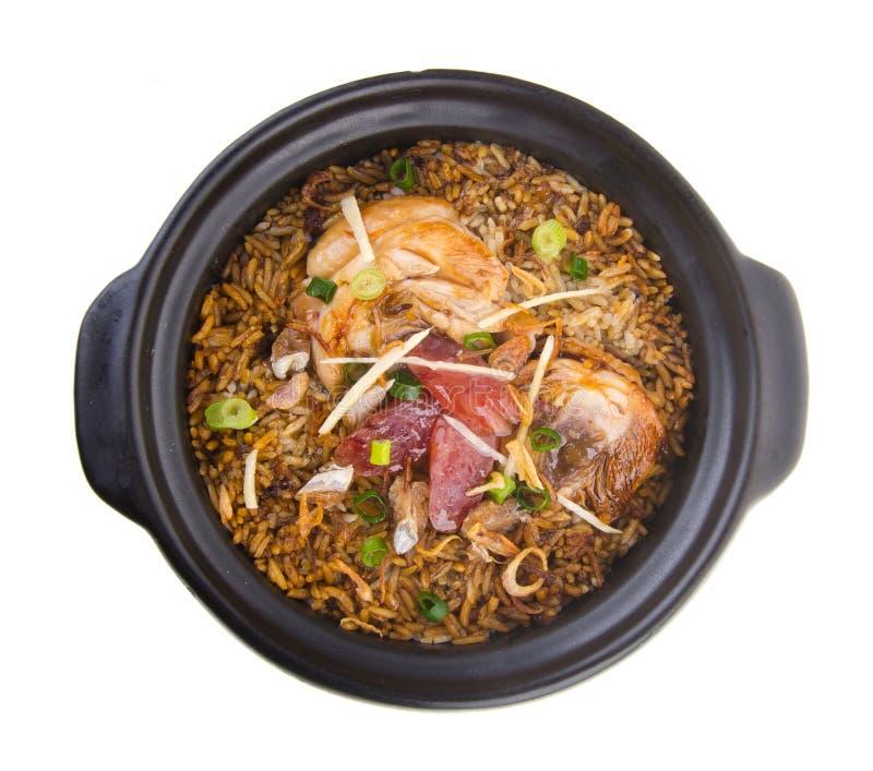 亚洲鸡claypot蛋食物米蔬菜 亚洲食物 免版税库存图片