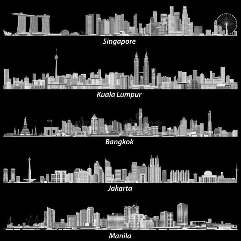 亚洲citiesSingapore,吉隆坡、曼谷、雅加达和马尼拉地平线的抽象传染媒介例证在亮度色标palett 皇族释放例证