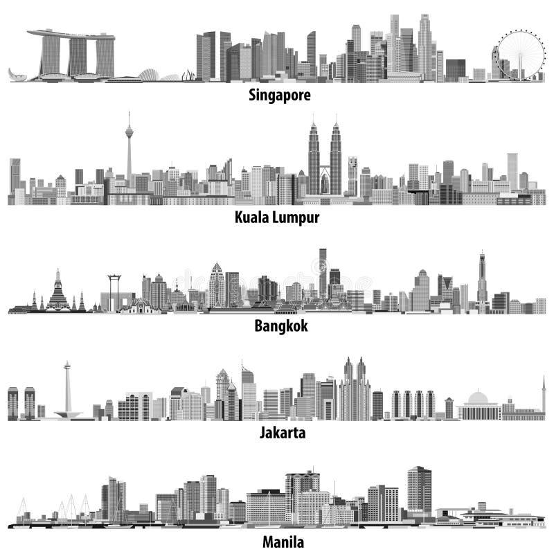 亚洲citiesSingapore,吉隆坡、曼谷、雅加达和马尼拉地平线的抽象传染媒介例证在黑白co 库存例证
